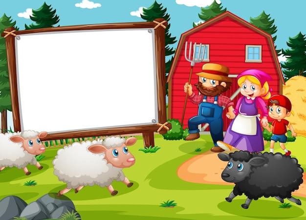 Pusty baner w scenie gospodarstwa z szczęśliwą rodziną i wieloma owiec