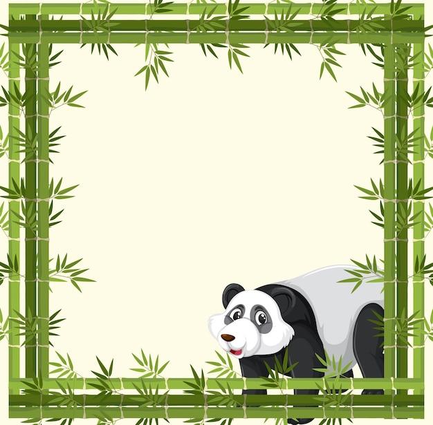 Pusty baner z bambusową ramą i postacią z kreskówki pandy