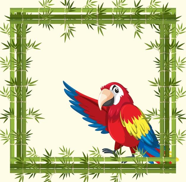 Pusty baner z bambusową ramą i postacią z kreskówki papugi