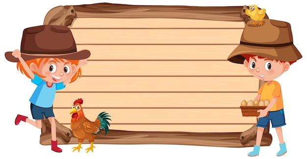 Pusty baner z dziećmi i farmą zwierząt