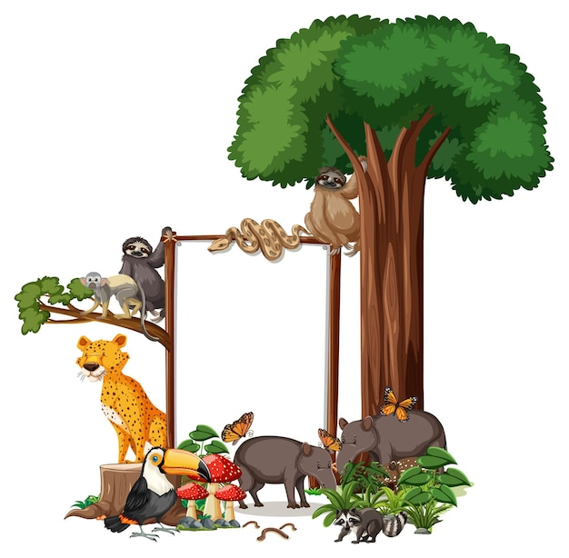 Pusty baner z dzikimi zwierzętami i drzewami lasów deszczowych na białym tle