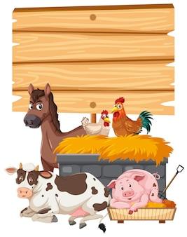 Pusty baner z farmą zwierząt na białym tle