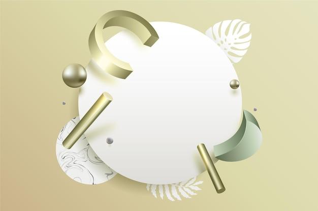 Pusty baner z geometrycznymi kształtami w efekcie 3d