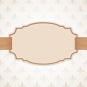 Pusty baner ze złotą wstążką. vintage, klasyczne tło.