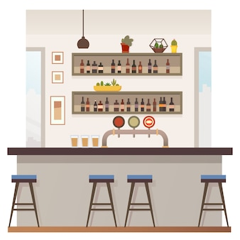 Pusty bar lub pub wnętrze ilustracji wektorowych płaski