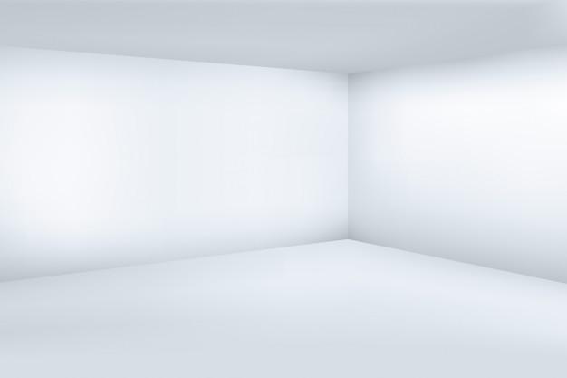 Pusty biały 3d nowożytny pokój z astronautycznym czystym narożnikowym tłem