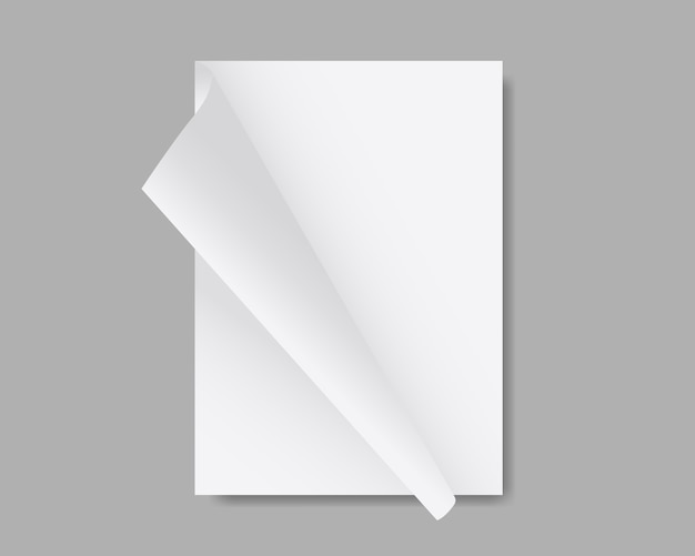 Pusty biały arkusz makiety papieru. stos papierów z zakrzywionymi narożnikami. magazyn, broszura, pocztówka, ulotka, makieta broszury. projekt szablonu realistyczna ilustracja.
