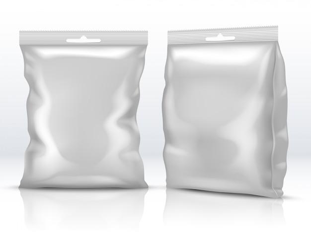 Pusty biały jedzenie papier lub folia pakuje odosobnioną 3d ilustrację wektorową
