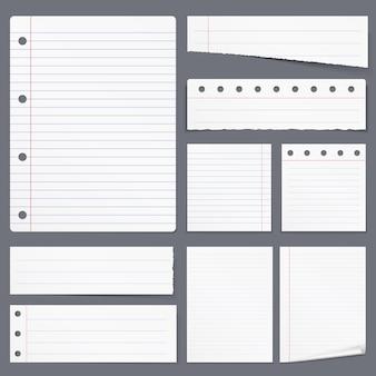 Pusty biały papier w linie