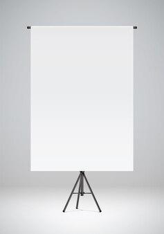 Pusty biały papier wiszący na czarnym stojaku studio fotograficzne tło realistyczne ilustracji wektorowych