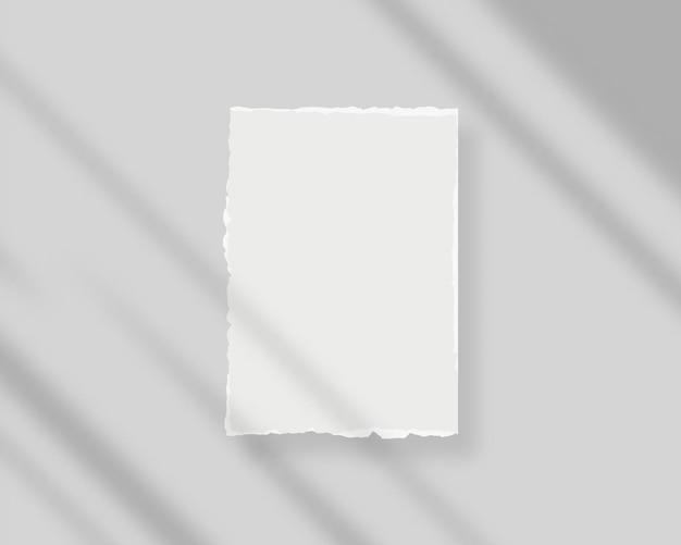 Pusty biały papier z nakładką cienia pusta biała kartka papieru makieta wektor makieta na białym tle projekt szablonu realistyczna ilustracja wektorowa