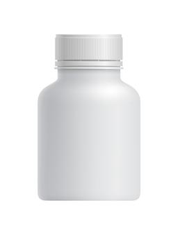 Pusty biały plastikowy pojemnik na leki