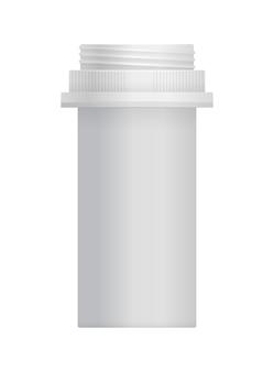 Pusty biały plastikowy pojemnik na witaminy