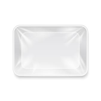 Pusty biały plastikowy pojemnik na żywność, szablon taca opakowania. pakiet do przechowywania