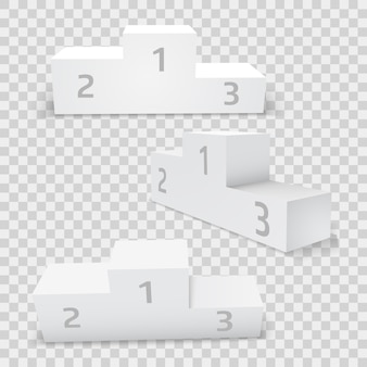 Pusty biały prostokątny zwycięzca zestaw podium. pierwsze, drugie i trzecie miejsce