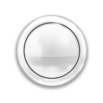 Pusty biały przycisk na białym tle