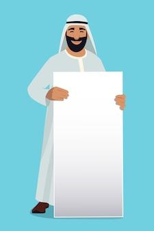 Pusty biały sztandar w rękach arabski biznesmen