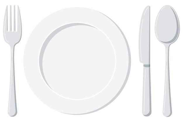 Pusty biały talerz z łyżką nożem i widelcem na białym tle na białym tle
