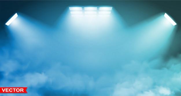 Pusty błękitny pracowniany tło z światłami reflektorów