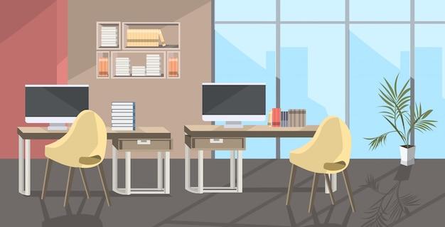 Pusty brak ludzi coworking center nowoczesne otwarte biuro biurowe szkic wnętrza