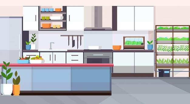 Pusty brak ludzi dom pokój nowoczesny projekt kuchni inteligentny system uprawy roślin w koncepcji wnętrza płasko poziomo