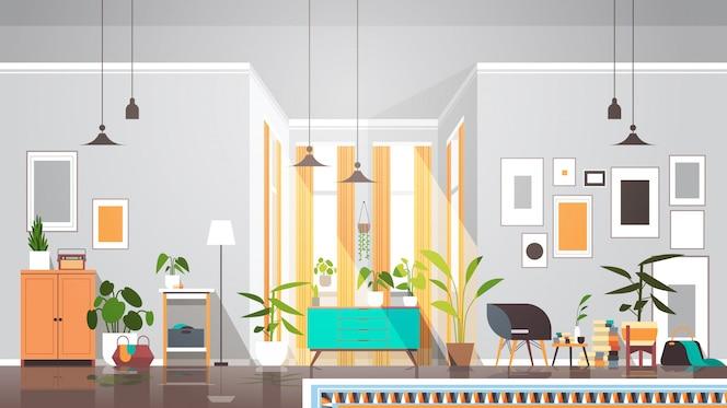 Pusty brak ludzi salon wnętrze nowoczesne mieszkanie z meblami poziomymi