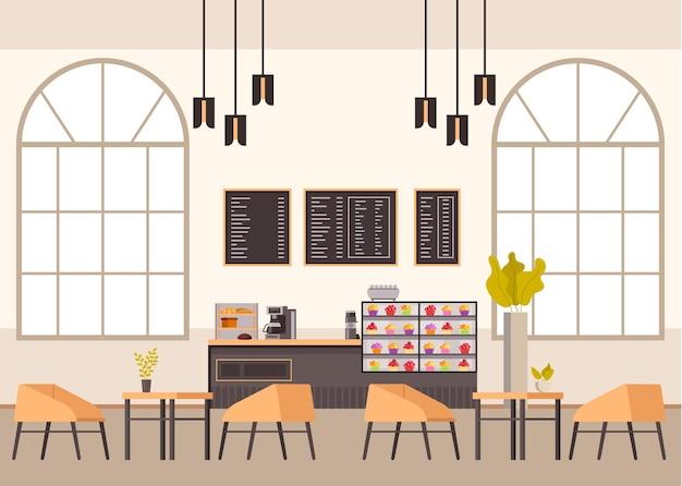 Pusty cafe bar restauracja pub meble wnętrze.
