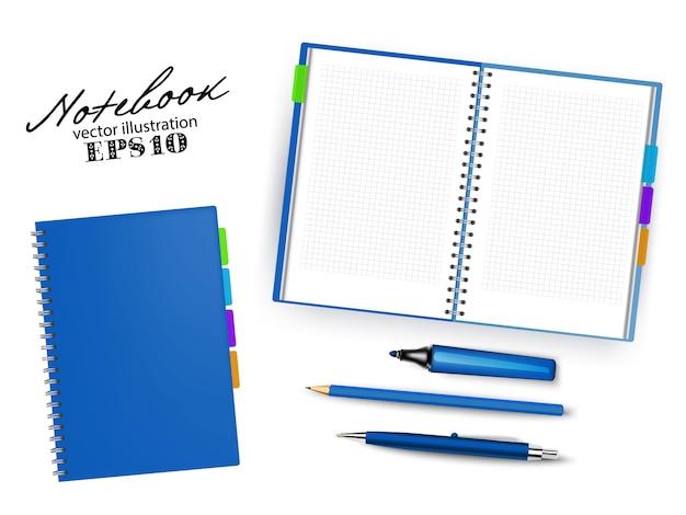 Pusty ciemny niebieski otwarte i zamknięte zeszyt szablon z piórem, ołówkiem i permanentnym markerem. zestaw ilustracji stacjonarne na białym tle