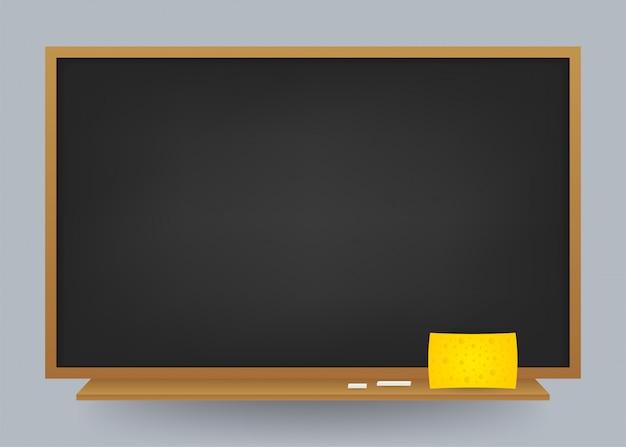 Pusty czarny szkolny chalkboard tło. szablon do projektowania. ilustracja akcji.