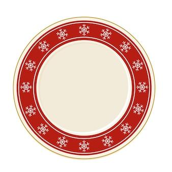 Pusty czerwony boże narodzenie płyta wektor w stylu cartoon widok z góry. elementy projektu zastawy stołowej