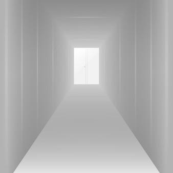 Pusty długi biały korytarz, do projektowania. ilustracji wektorowych
