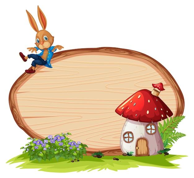 Pusty drewniany sztandar w ogrodzie z królikiem na białym tle