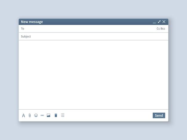 Pusty ekran e-mail. interfejs wiadomości e-mail puste makieta okno internetowe komputer, przeglądarka oprogramowania strony internetowej