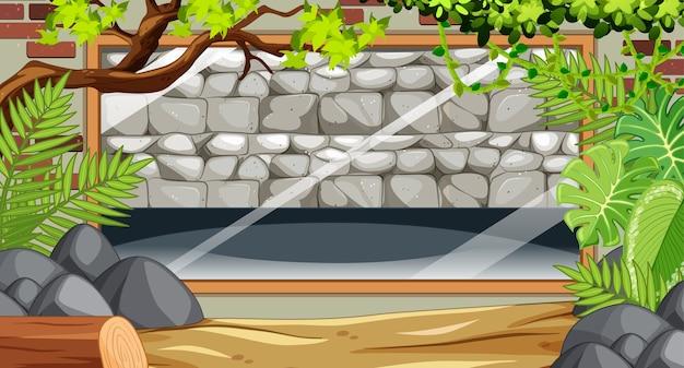 Pusty kamienny mur na scenie zoo