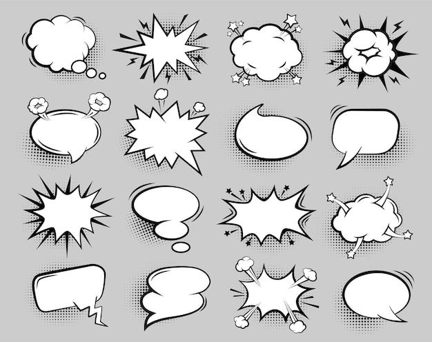 Pusty komiks bańka kreskówka mowy balony na tekst na białym tle zestaw