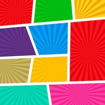Pusty komiks szablonu strony kolorowe tło z promieni