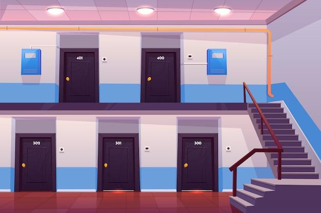 Pusty korytarz lub korytarz z ponumerowanymi drzwiami, schodami, podłogą wyłożoną kafelkami i skrzynkami mierników elektrycznych na ścianie