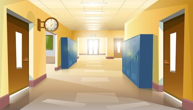Pusty korytarz szkolny uczniów z drzwiami i zegarem na ścianie.