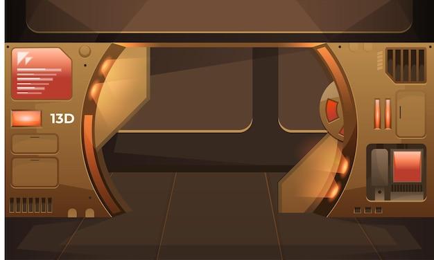 Pusty korytarz z otwartymi drzwiami w futurystycznym wnętrzu statku kosmicznego