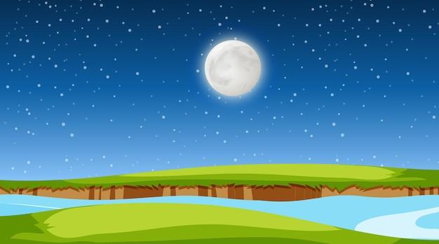 Pusty krajobraz łąki i rzeka w nocnej scenie