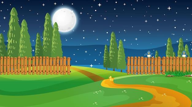 Pusty krajobraz parku przyrody w nocnej scenie