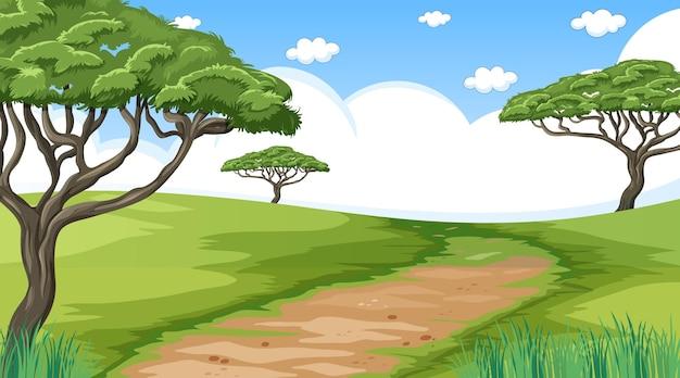 Pusty krajobraz parku przyrody w scenie dziennej ze ścieżką przez łąkę