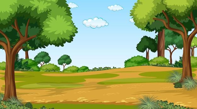 Pusty krajobraz parku przyrody w scenie dziennej