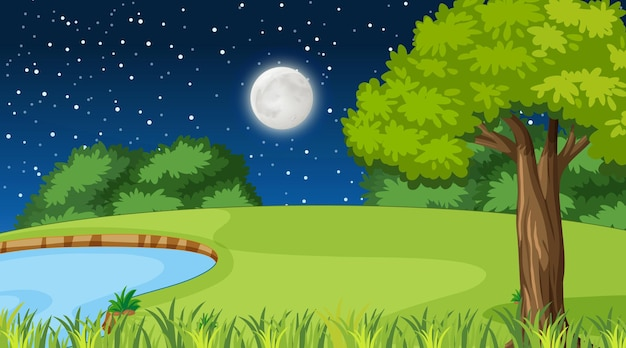 Pusty krajobraz przyrody w nocnej scenie