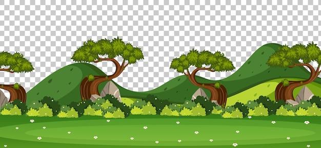 Pusty krajobraz sceny parku przyrody na przezroczystym tle