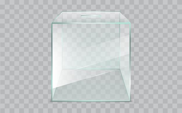 Pusty, kwadratowy, szklany urny, realistyczny wektor
