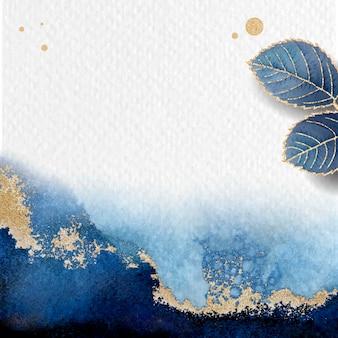 Pusty, liściasty niebieski wektor ramki