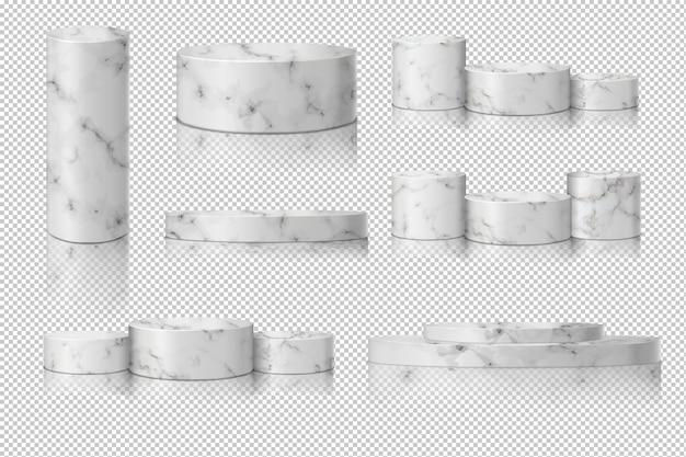 Pusty marmurowy szablon cylindra z cieniem. prezentacja koncepcji sceny podium