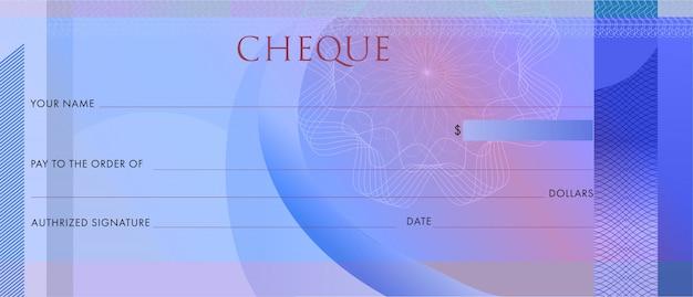 Pusty niebieski czek bankowy z giloszem