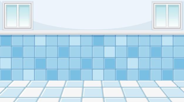 Pusty niebieski pokój z błękitnymi płytkami podłogowymi i ściennymi